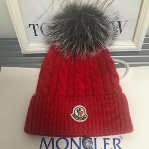 Moncler Pom Pom Ribbed Beanie Hat Red
